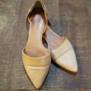 Madewell Natural Color Pointy Toe Leather Flats